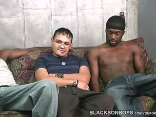 Hung black men sharing a horny white dude