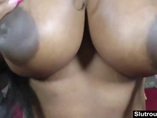 Big titted ebony slut riding white dick