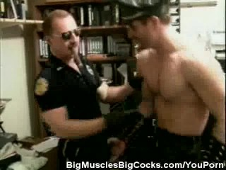 Muscled Cop And Biker Stud Cock Sucking