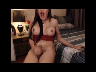 Sexy brunette Shemale jerks off