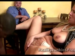 Horny blonde MILF gets fucked by black pole right before her cuckold husbands eyes