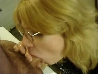 Mature Blond Deep Throats a Big Cock