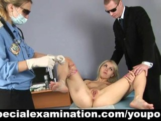 Embarassing gyno examination for sexy young blonde