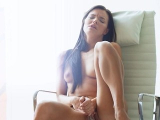 Huge glass toy in extremely horny cunt
