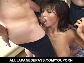 Yoshiki Aogiri gets cum in mouth after is fucked in huge gangbang