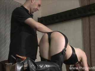 Kinky leather slave Fae Corbins amateur bdsm and hot wax punishment and submissive training in obedience in pain