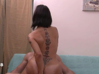 Sexy TS MILF gets seduced by her masseur