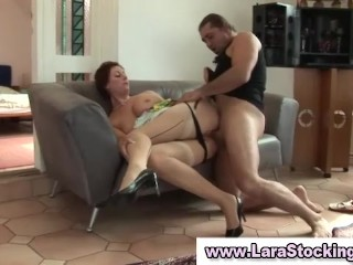 British guy gets blowjob and eats mature babe in stockings pussy