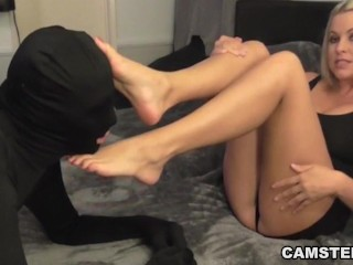 Pretty feet covered with cum after footjob