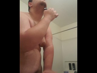 Fat fuck with small dick shaves before first day of work