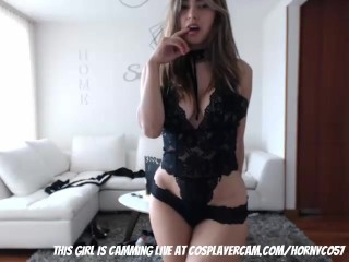 Latina in sexy lace lingerie