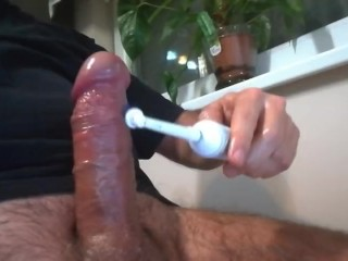 My cock and a toothbrush (slow motion)