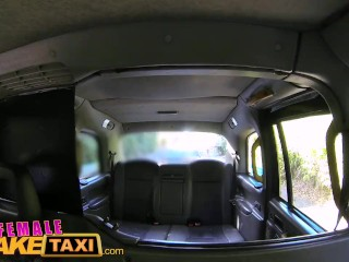 FemaleFake Taxi Wild lesbians share a massive dildo in thier wet pussies