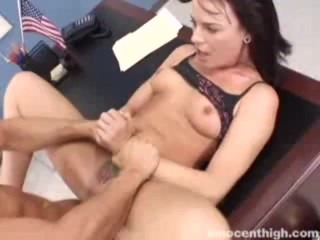 Rebellious Dana gets her tattooed pussy fucked by the dean