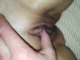 Playing with wet, juicy pussy, squirting orgasm