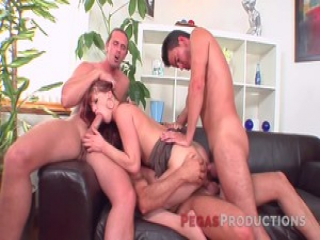 Double penetrated babe takes in all the cocks