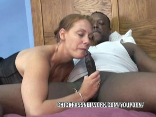 Busty coed Mariah gets her face fucked with a black dick
