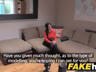 Fake Agent UK British babe great big tits gets creampied up against desk