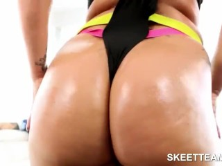 Big assed blonde teases and fucks