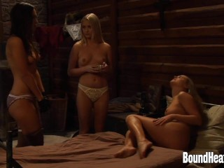 Two Enslaved Girls Pleasuring Mistress With Massage