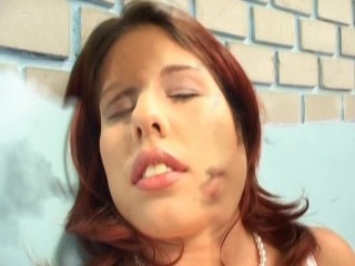 sexy brunette plays with herself