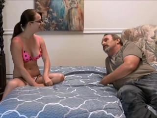 cute girl playing with dad HD