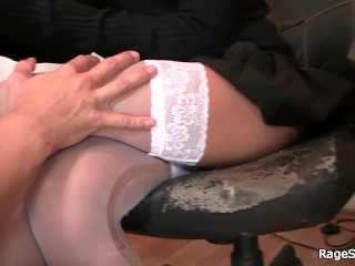 Hot blonde in white stockings rides his angry cock