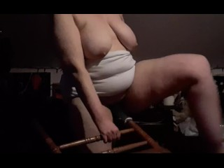 CHAIR FUCK #16! Held chair at an angle standing, got me so horny I made 2nd chair video!