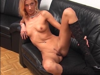 Sexy blonde strips and shows off for the guys