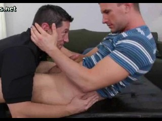 Horny gay jerking a cock and doing deepthroath