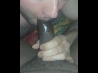 guy sucks hard black cock