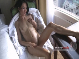 Skinny french Montreal porn star flashes toned fit body