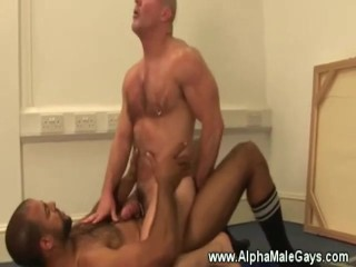 White guy rides gay black guys hard cock