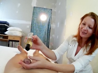Good Old Fashion Cock Massage by Redhead Russian Teen