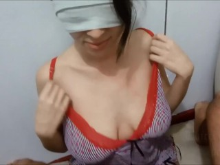 Two consecutive cumshots on my huge tits one after another without clean