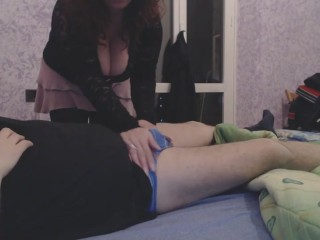 Redhead slut sucks off a chubby guy