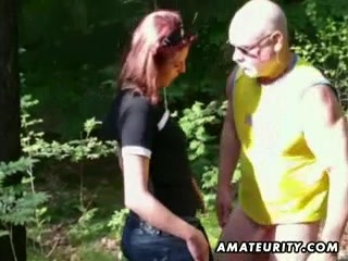 Amateur female outdoor handjob and fuck with cumshot