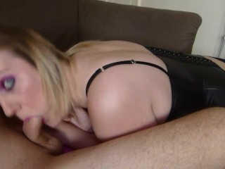 Messy Sofa BJ In a Black Corset With a Massive Spurting Cumshot