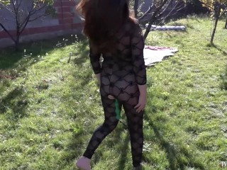 anal with the balls of a young busty girl with a hairy pussy. outdoors