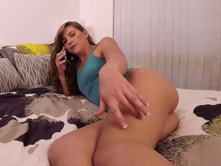 Horny Girl Gets Fucked While On Phone with Mum