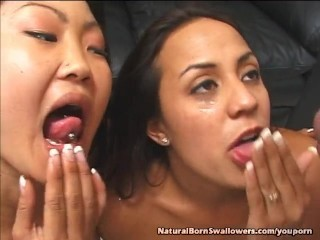 Two Girls Share a Huge Load of Cum
