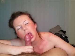 Horny MILF eating her hubby's shaft