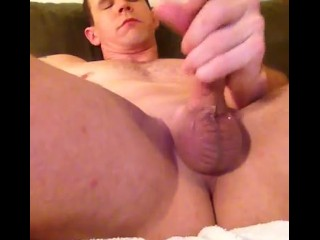 Massaging my cock with a pocket pussy and fucking my ass with a prostate massager :)