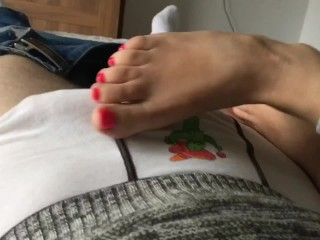Quickie morning footjob before work. Huge cumshot on soles&toes red pedicur