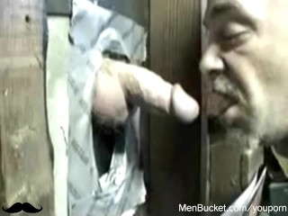 Mature amateur dudes eating cocks from gloryholes