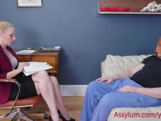 Psychotherapist gets her ass spanked while gagging on cock