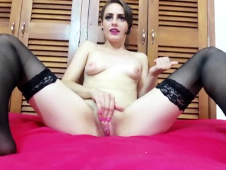 Big Clit Masturbation Jerk off Instructions Young Girl Lipstick Stockings