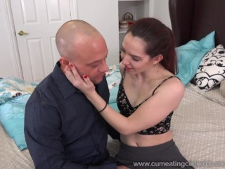 Ember Stone Makes Husband Eat a Cumshot From Her Hairy Pussy