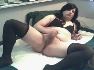 Chubby Crossdresser plays with her Toy