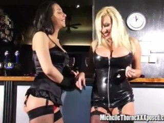 Filthy smoking hot lesbian babes lick and finger fuck juicy pussy on bar